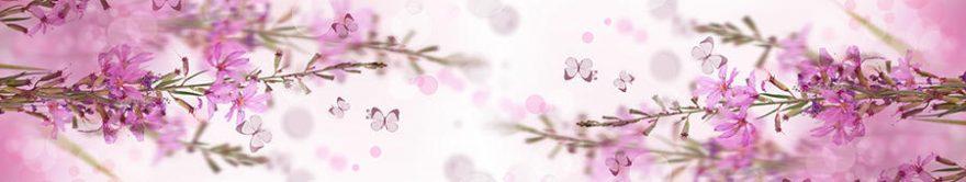 Изображение для стеклянного кухонного фартука, скинали: цветы, бабочки, fartux1226