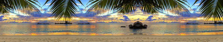 Изображение для стеклянного кухонного фартука, скинали: закат, море, пляж, fartux1316