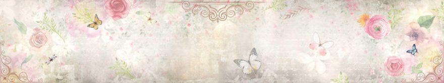Изображение для стеклянного кухонного фартука, скинали: цветы, бабочки, fartux1361