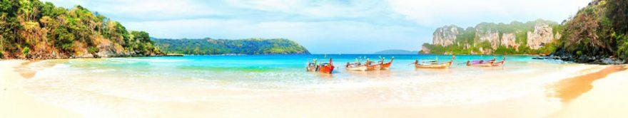 Изображение для стеклянного кухонного фартука, скинали: море, горы, пляж, лодки, fartux1366