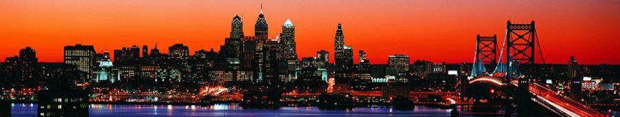 Изображение для стеклянного кухонного фартука, скинали: закат, город, небоскребы, fartux1409
