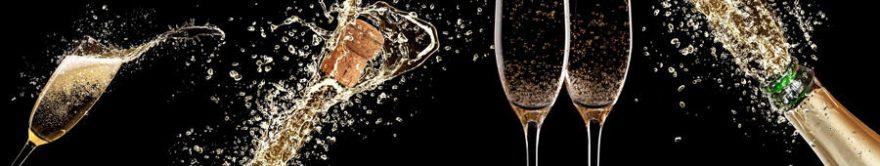 Изображение для стеклянного кухонного фартука, скинали: напитки, бутылка, бокал, fartux1689