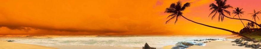 Изображение для стеклянного кухонного фартука, скинали: закат, море, пальмы, пляж, fartux1702