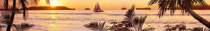 Изображение для стеклянного кухонного фартука, скинали: закат, море, пальмы, fartux1820