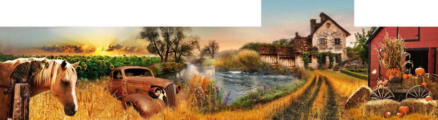 Изображение для стеклянного кухонного фартука, скинали: пшеница, животные, машины, лошади, дом, fartux1837