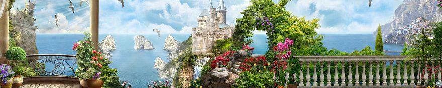 Изображение для стеклянного кухонного фартука, скинали: цветы, море, башня, fartux550