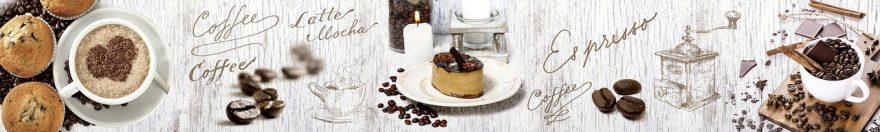 Изображение для стеклянного кухонного фартука, скинали: посуда, коллаж, кофе, кружка, fartux566