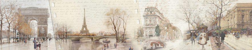 Изображение для стеклянного кухонного фартука, скинали: коллаж, город, винтаж, париж, fartux568