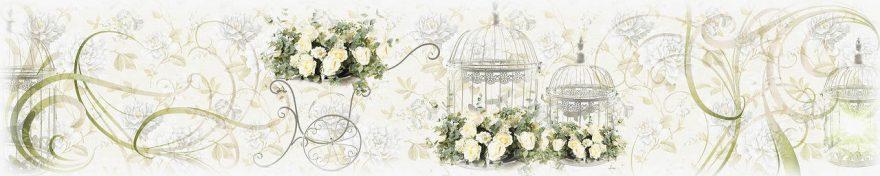 Изображение для стеклянного кухонного фартука, скинали: цветы, орнамент, винтаж, fartux577