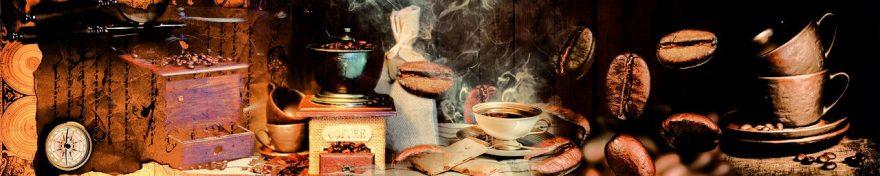 Изображение для стеклянного кухонного фартука, скинали: посуда, коллаж, кофе, кружка, fartux592