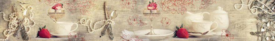 Изображение для стеклянного кухонного фартука, скинали: посуда, жемчуг, столовые приборы, винтаж, fartux671