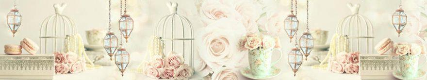 Изображение для стеклянного кухонного фартука, скинали: цветы, розы, коллаж, винтаж, fartux773