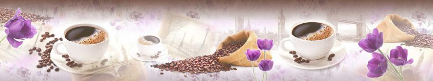 Изображение для стеклянного кухонного фартука, скинали: цветы, посуда, коллаж, кофе, кружка, fartux829