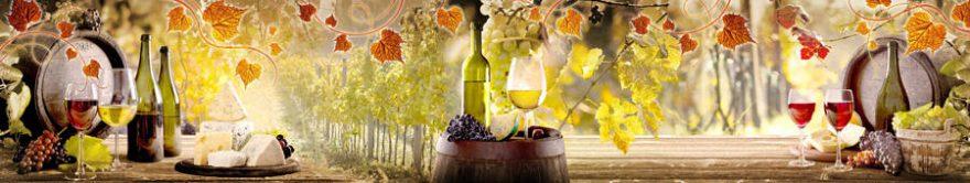 Изображение для стеклянного кухонного фартука, скинали: листья, вино, бочка, виноград, бутылка, бокал, fartux916