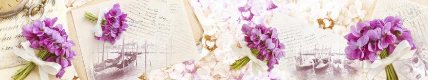 Изображение для стеклянного кухонного фартука, скинали: цветы, коллаж, письмо, винтаж, fartux921