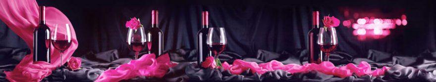 Изображение для стеклянного кухонного фартука, скинали: вино, бутылка, бокал, ткань, fartux931
