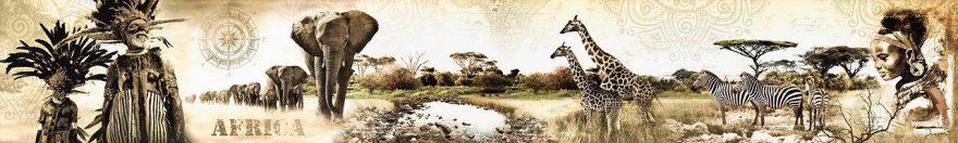 Изображение для стеклянного кухонного фартука, скинали: животные, саванна, африка, fartux954