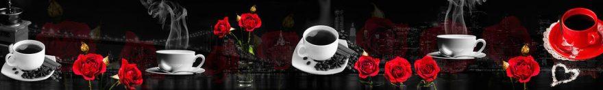 Изображение для стеклянного кухонного фартука, скинали: цветы, розы, посуда, кружка, fartux977