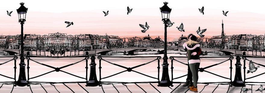 Изображение для стеклянного кухонного фартука, скинали: город, птицы, люди, фонари, париж, fartux985