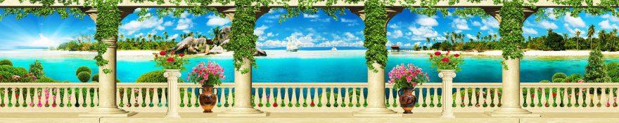 Изображение для стеклянного кухонного фартука, скинали: цветы, море, fartux992