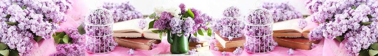Изображение для стеклянного кухонного фартука, скинали: цветы, сирень, книга, fartux995