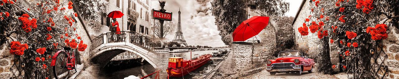 Изображение для стеклянного кухонного фартука, скинали: цветы, город, париж, fartux996