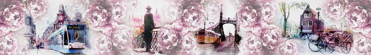 Изображение для стеклянного кухонного фартука, скинали: цветы, коллаж, город, париж, fartux997
