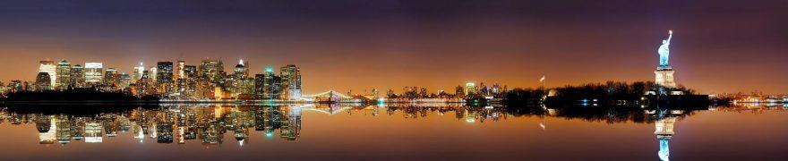 Изображение для стеклянного кухонного фартука, скинали: море, ночь, город, небоскребы, нью-йорк, gornoch003