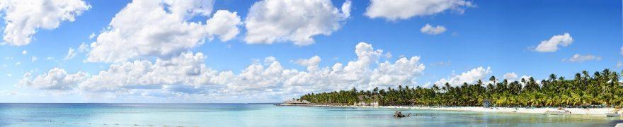 Изображение для стеклянного кухонного фартука, скинали: небо, море, облака, пальмы, morokea010