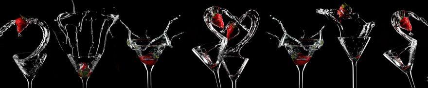 Изображение для стеклянного кухонного фартука, скинали: вода, напитки, ягоды, бокал, napitki017
