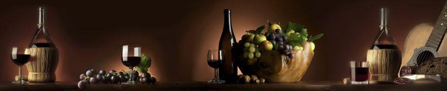 Изображение для стеклянного кухонного фартука, скинали: посуда, фрукты, вино, виноград, бутылка, napitki022