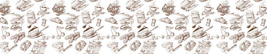 Изображение для стеклянного кухонного фартука, скинали: паттерн, посуда, еда, банки, patsvet022