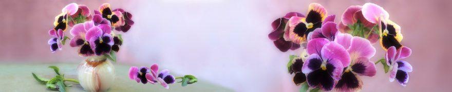 Изображение для стеклянного кухонного фартука, скинали: цветы, ваза, анютины глазки, rastcve036