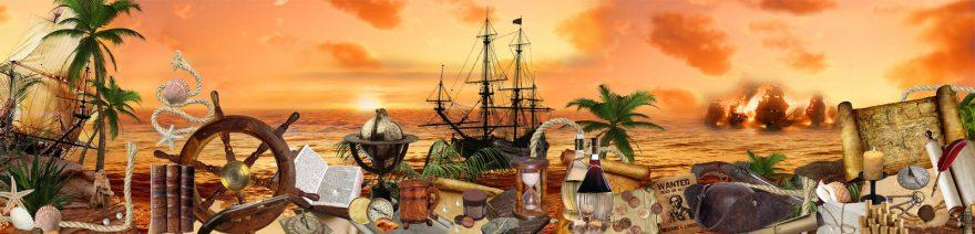 Изображение для стеклянного кухонного фартука, скинали: закат, море, пальмы, бутылка, карта, корабль, skin144