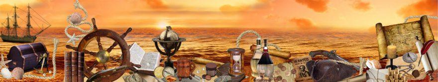 Изображение для стеклянного кухонного фартука, скинали: закат, море, бутылка, карта, корабль, skin145