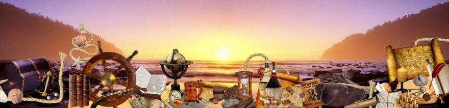Изображение для стеклянного кухонного фартука, скинали: закат, бутылка, карта, skin146