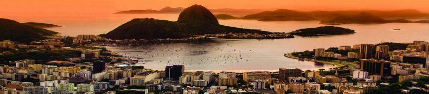 Изображение для стеклянного кухонного фартука, скинали: закат, море, остров, город, skin226