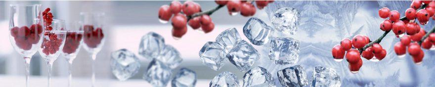 Изображение для стеклянного кухонного фартука, скинали: ягоды, лед, бокал, skin234