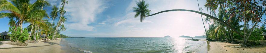 Изображение для стеклянного кухонного фартука, скинали: море, пальмы, пляж, skin262