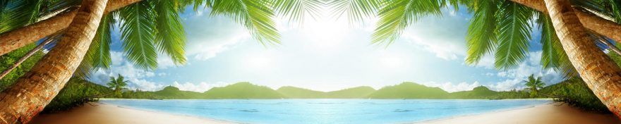 Изображение для стеклянного кухонного фартука, скинали: небо, море, пальмы, skin283