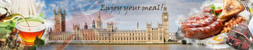 Изображение для стеклянного кухонного фартука, скинали: коллаж, город, архитектура, лондон, кружка, еда, skin316