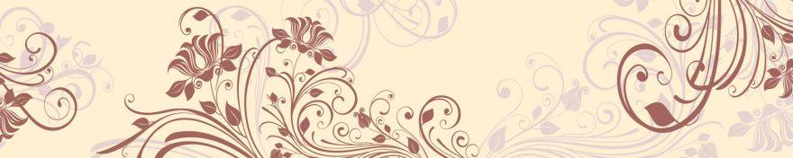 Изображение для стеклянного кухонного фартука, скинали: цветы, орнамент, skin408