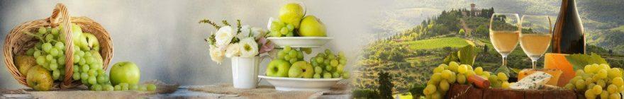 Изображение для стеклянного кухонного фартука, скинали: цветы, посуда, фрукты, вино, бутылка, бокал, skin486