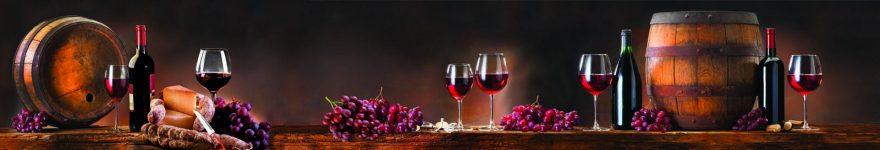 Изображение для стеклянного кухонного фартука, скинали: вино, бочка, виноград, бутылка, бокал, skinap146