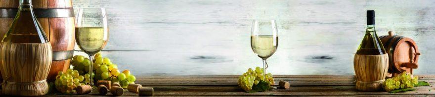 Изображение для стеклянного кухонного фартука, скинали: вино, бочка, виноград, бутылка, бокал, skinap155