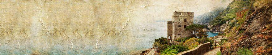 Изображение для стеклянного кухонного фартука, скинали: горы, башня, vintazh005